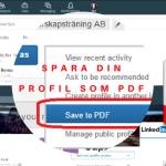 Spara din LinkedIn profil som pdf