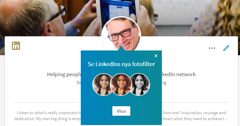 LinkedIns fotofilter för profilfoton